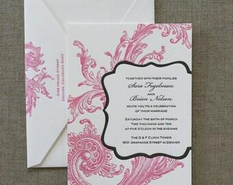 Letterpress Wedding Invitation Sample, Marie Antoinette Style, Chic Frame