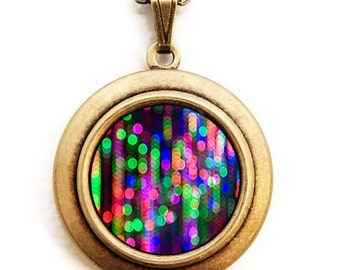 Neon Locket - Dripping Bokeh Colorful Neon Photo Locket Necklace