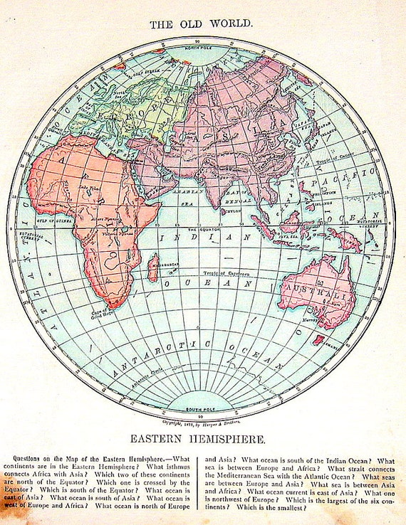 Eastern Hemisphere Map With Names Antique Map 187...