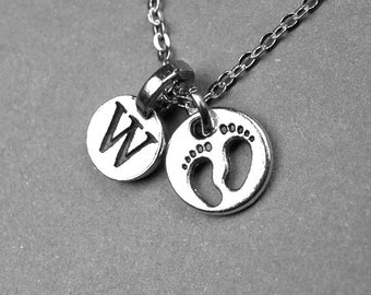 Baby Feet Necklace, Baby footprints, baby foot prints charm, baby shower, personalized jewelry, initial necklace, monogrammed letter