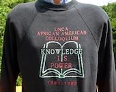 vintage 1991 sweatshirt UNCA knowledge is power african american Medium black crew neck