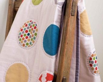 Modern Polkadot Baby Quilt; Handmade Polka Dot Toddler Quilt; Organic Cotton Crib Quilt; Custom Nursery Bedding; Newborn Baby Shower Gift
