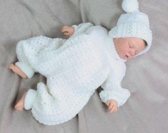 KNITTING PATTERN  For Baby Pram Suit, Hat, Knitting Pattern 2 Sizes PDF 38 Digital Download