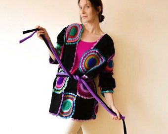 Plus Size Clothing, Multicolor Crocheted Cardigan, Black and Purple - MADE TO ORDER