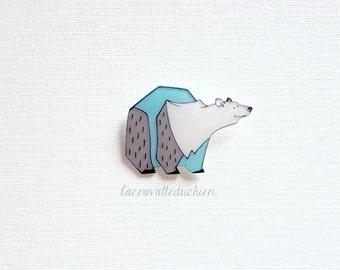 Polar Bear Brooch, Animal Brooch, winter jewelry