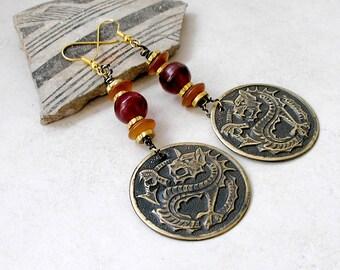 Celtic Dragon Earrings Horn Brass Stamping Boho Jewelry