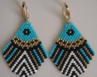 Seed Bead Beadwoven Earrings - Turquoise