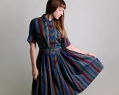 Vintage 1950s Dress - Striped Chevron Dark Cotton Day Dress - Medium to Large