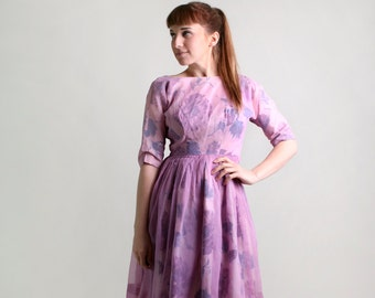 Vintage 1950s Dress - Floral Print Radiant Orchid Sheer Chiffon Party Dress - XS Small