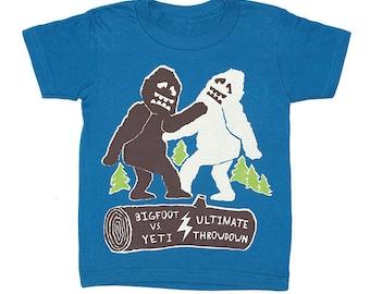 KIDS Bigfoot vs Yeti T-shirt - Boy Girl Children Toddler Youth Funny Geek Tee Shirt Awesome Monster Abominable Snowman Sasquatch Tshirt