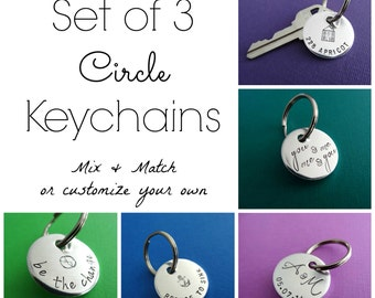 Set of 3 Keychains - Custom Circle Keychains - Hand stamped Personalized Key Chains