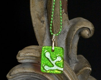 Berries Lime Carved Dichroic Glass Pendant - FREE SHIPPING!