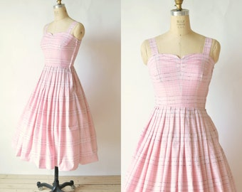 SALE /// Plaid 50s Dress --- Vintage Pink Summer Dress