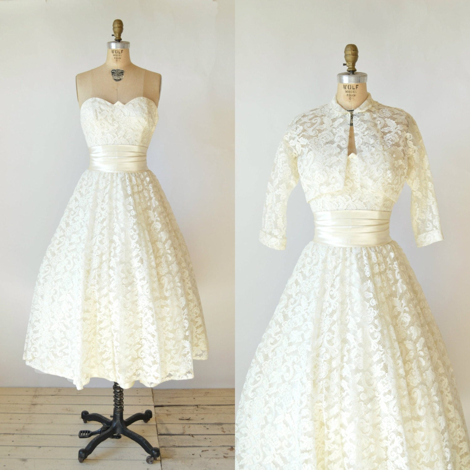 Vintage Wedding Dresses Nyc: 50s Lace Wedding Dress Vintage Tea Length Wedding Dress