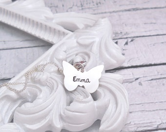 Personalized butterfly necklace, Personalized necklace sterling silver, Kids name necklace, Mothers Day gift for mom, gift for her