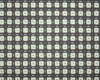 1940's Vintage Wallpaper - Brown Yellow and Blue Geometric Design