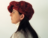 Beret Knitted in Marled Red Purple Orange