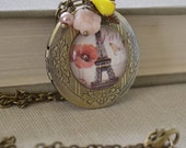 Brass Locket Necklace, Paris Floral, Photo Locket, Antique Brass Charm Necklace, Victorian Style, Bridesmaid Gift, Lapin du Printemps