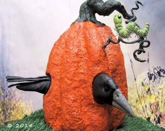 Large Paper Mache Pumpkin with Crow  Doll and Worm