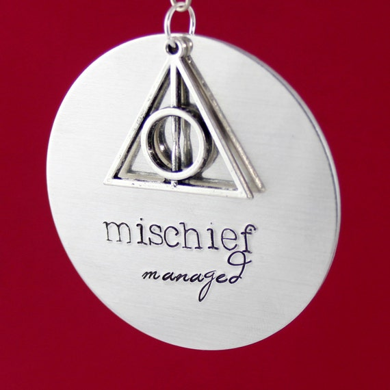 Harry Potter Ornament - Mischief Managed - Aluminum Deathly Hallows Christmas Ornament