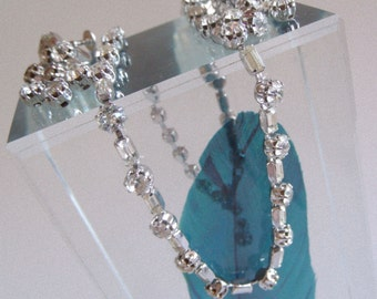 vintage 50s 60s kramer rhinestones necklace choker mid century mod earrings demi parure dangle drop sparkly shine