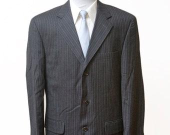 Men's Blazer / Vintage Charcoal Grey Pinstripe Jacket / Size 38 Reg.