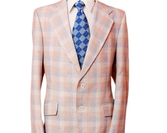 Men's Blazer / Vintage Pastel Plaid Jacket / Size 42 Large