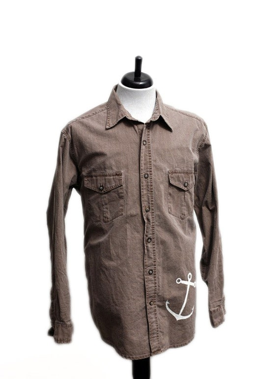 Men's Shirt / Vintage Upcycled Barn Shirt with Screen Printed Anchor / Size Medium