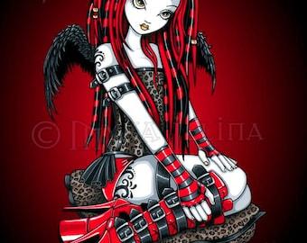 Crimson Cybergoth Industrial Tattoo Fire Fairy Art Print V2