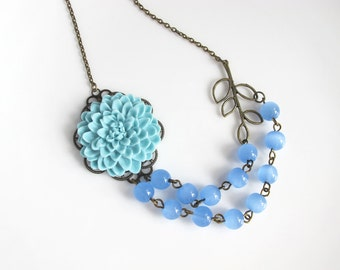 Large Light Blue Mums, Dual Strand Blue Synthetic Chalcedony Glass Beads, Branch Leaf Necklace. Nature Woodlands Floral Necklace