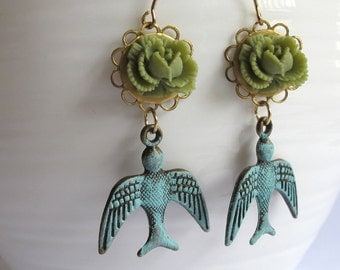 Vintage Inspired Moss Green Rose with Patina Flying Swallow Bird Shabby Chic Earrings Gold Plated Earwire Jewelry