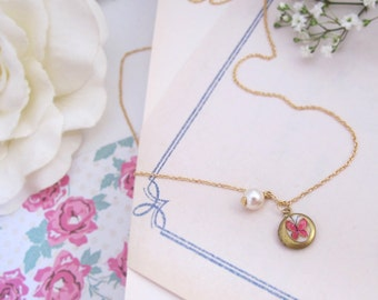 Petite Locket Necklace. Vintage Butterfly Tensha Cabochon, Swarovski pearl, Small Brass Locket Necklace. Dainty Jewelry