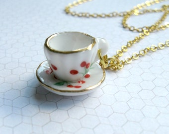 Tea cup necklace, gold chain - Alice in wonderland, tiny cup and saucer, red cherry design