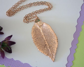Rose Gold Rose Leaf Necklace, Real Leaf Necklace, Rose Leaf, Rose Leaf, LC23