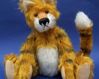 PDF Tiger pattern, soft toy mohair animal sewing pattern by BearlissimoBears
