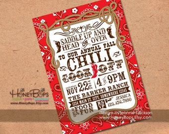 Red Bandana Western Personalized Invitation Birthday, Baby Shower, Chili Cook-Off- Digital File Only