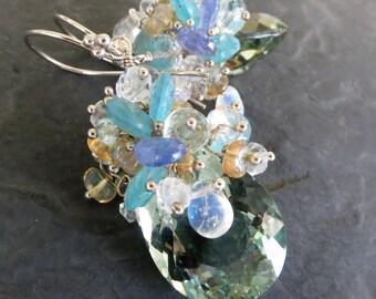 Moonstone, green amethyst earrings in sterling silver - statement earrings - tanzanite, opal - gemstone jewelry - beaded cluster earrings