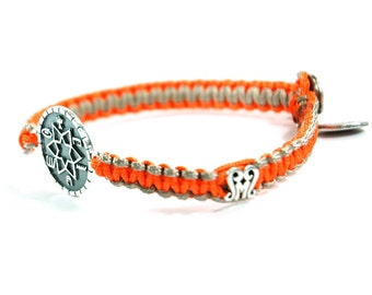 Unisex High Durability Success & Prosperity Silver Amulet Bracelet and Signature Button on Two Tone Camel Orange Parachute Chord