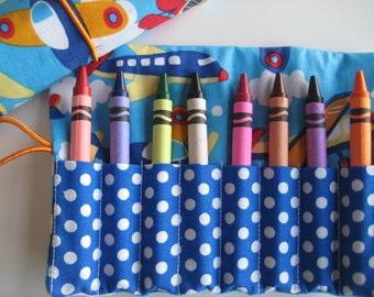 Crayon Roll Airplane Jet Includes 8 Crayons