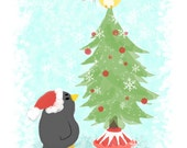 Christmas- Art Print 8x10 (Penguin & Peep)