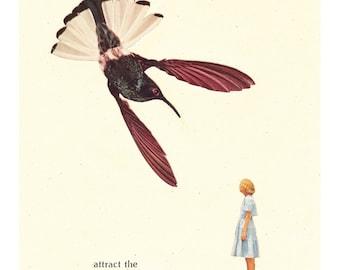 attract the extraordinary collage art giclee print - inspirational motivational - nursery children's art