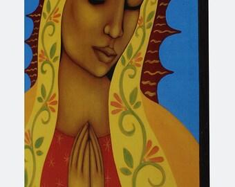 Virgin de Guadalupe Mexican Folk Art Print of Original Painting By Tamara Adams