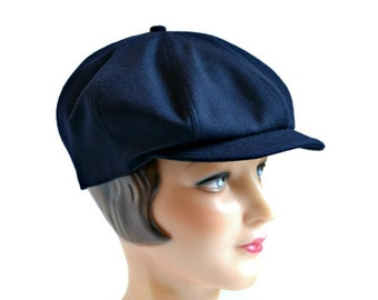 Men's Newsboy Hat in Vintage Navy Wool - Newsboy Cap - READY TO SHIP via 3 Day Priority