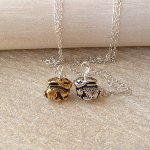 Bunny Rabbit Wonderland Gold Charm Necklace Sterling Silver Chain Petite Woodland Handmade Jewelry San Diego California USA by Kila Rohner