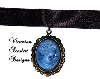 SALE Romantic Choker Satin Ribbon with Cameo of Neo Victorian Woman Face Gothic Lolita Blue Satin Hair