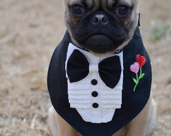 TUXEDO BANDANA w rose - Wedding Groom- Shirt Front style - All sizes - 11.99 - 16.99 - made to order