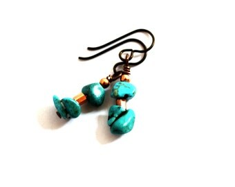 Turquoise and Copper Dangle Earrings, Wire Wrapped, Eco Friendly Jewelry by Hendywood