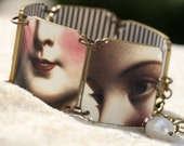 Surreal Faces Bracelet - Faces Bracelet - Human Image Jewelry - Surreal Jewelry - Victorian Bracelet - White Bracelet - Shrink Bracelet