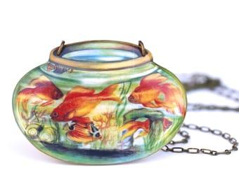Large Resin Goldfish Bowl Necklace - Goldfish Necklace - Goldfish Pendant - Fish Pendant - Resin Necklace - Goldfish Bowl - Goldfish