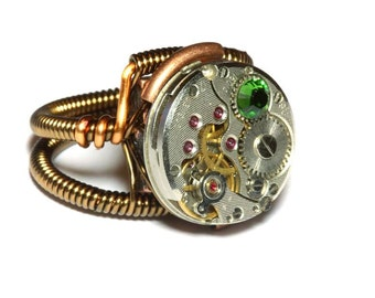 Steampunk ring, Steampunk Jewelry - Watch Movement Steampunk Ring with fern green crystal